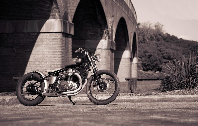 Photo wallpaper bridge, style, motorcycle, DeusEsMachina, bobber, Bobbersake V1, Kawasaki W650