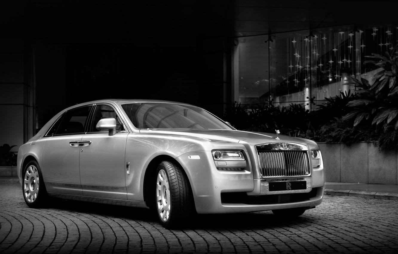 Photo wallpaper Rolls-Royce, twilight, Ghost, sedan, the front, Rolls-Royce, GOST