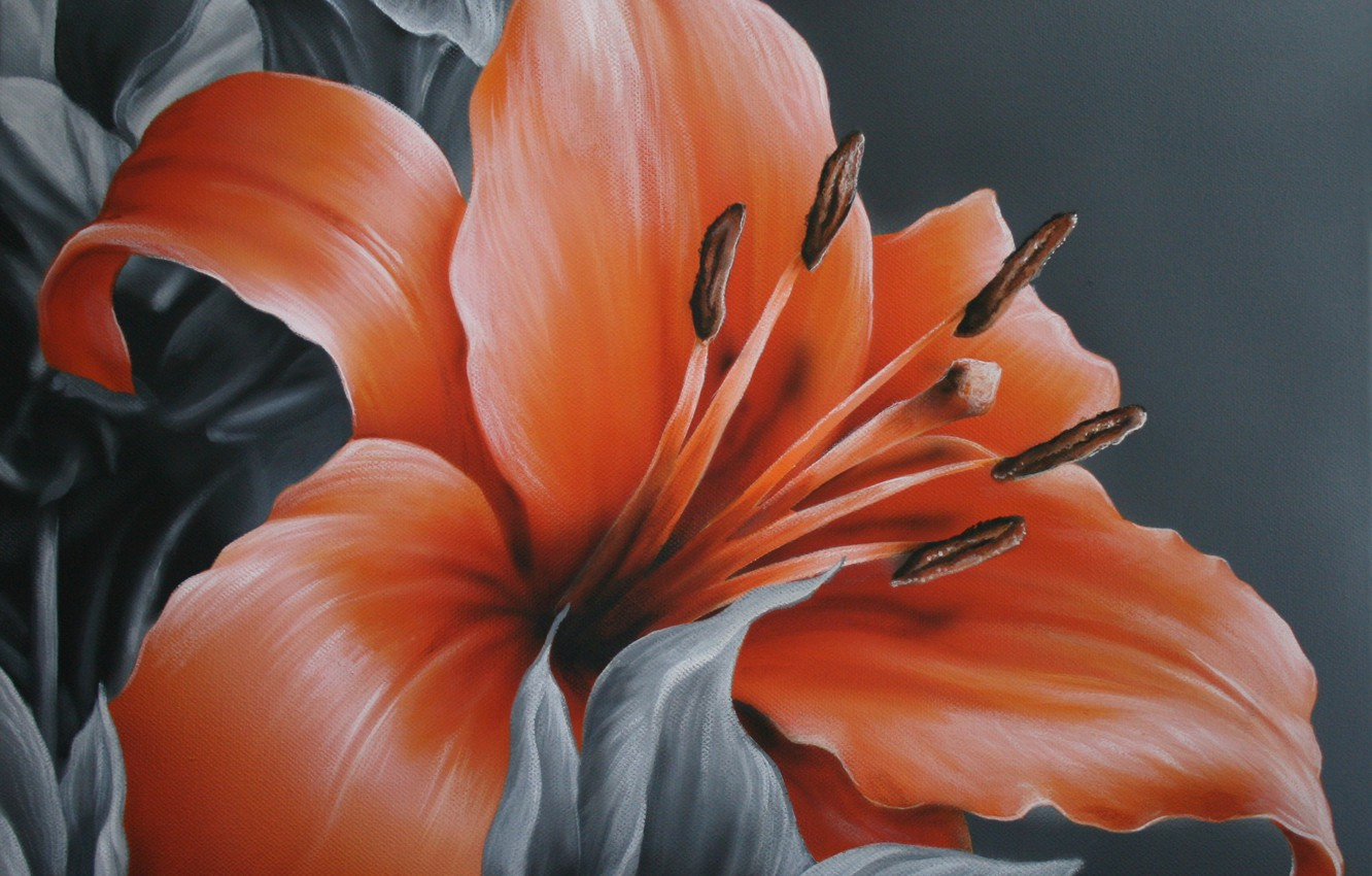 Photo wallpaper flower, leaves, grey background, painting