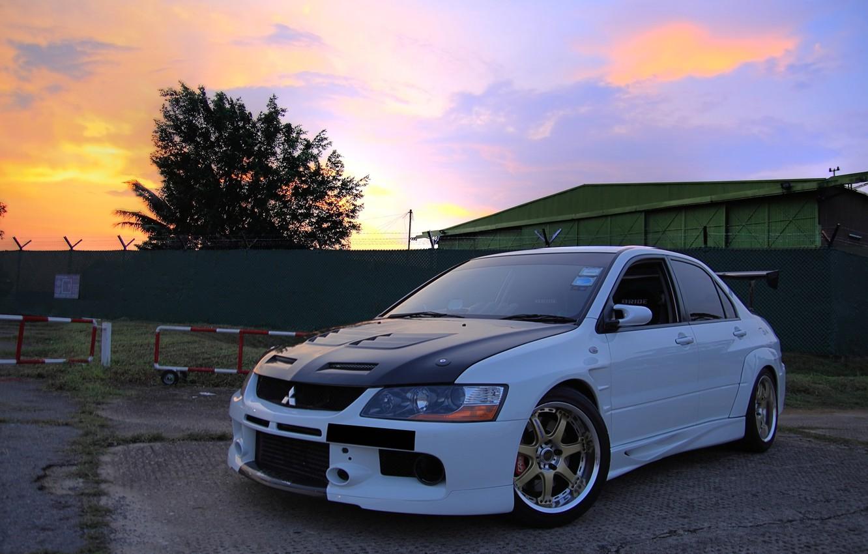 Photo wallpaper tuning, white, Mitsubishi, Lancer
