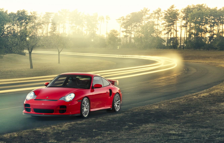 Photo wallpaper 911, Porsche, red, GT2, front, 996