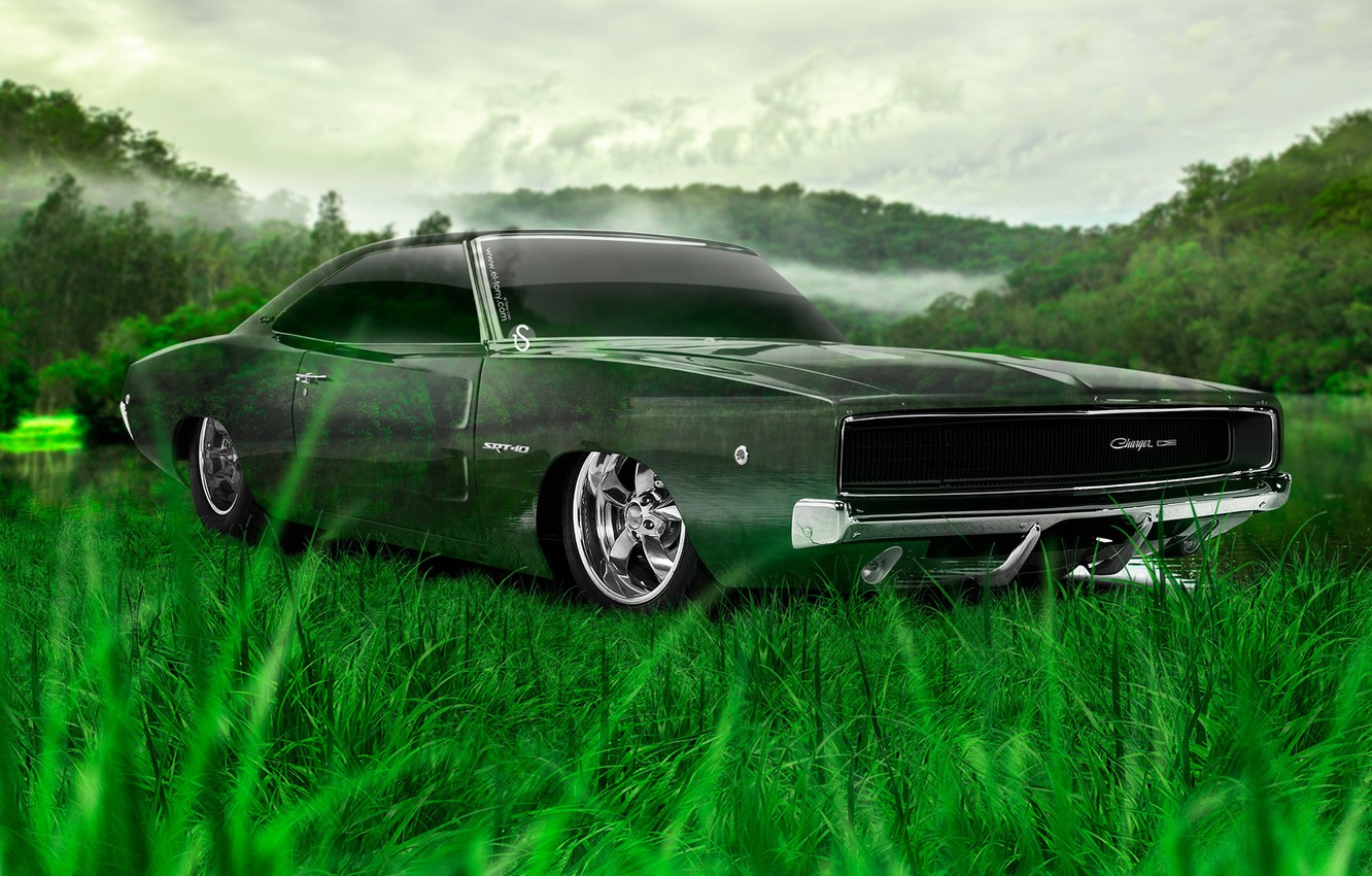 Photo wallpaper Nature, Design, Grass, Style, Dodge, Wallpaper, Dodge, Nature, Grass, Green, Photoshop, Photoshop, Green, Design, Charger, …