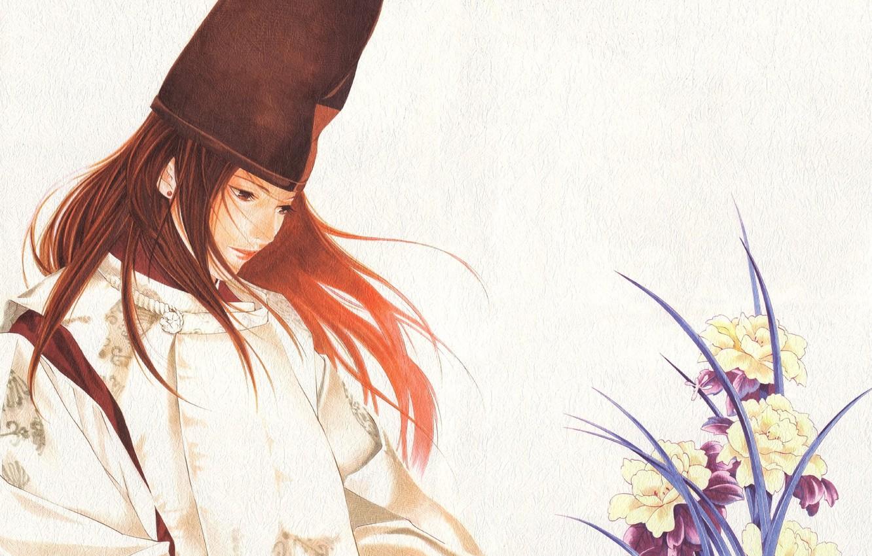 Photo wallpaper flowers, background, anime, art, guy, Hikaru and Guo, hikaru no go