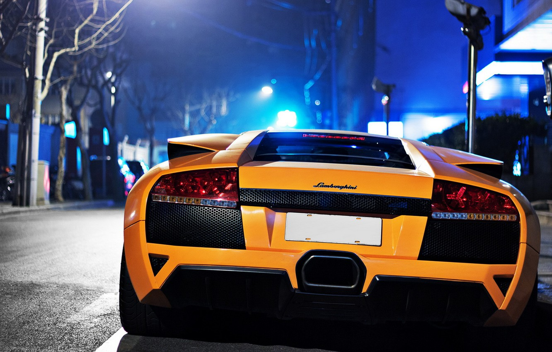 Photo wallpaper Lamborghini, Orange, murcielago, bokeh
