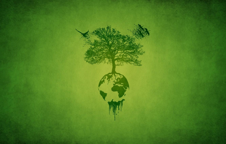 Photo wallpaper leaves, birds, roots, green, tree, planet, minimalism, minimalism, storks