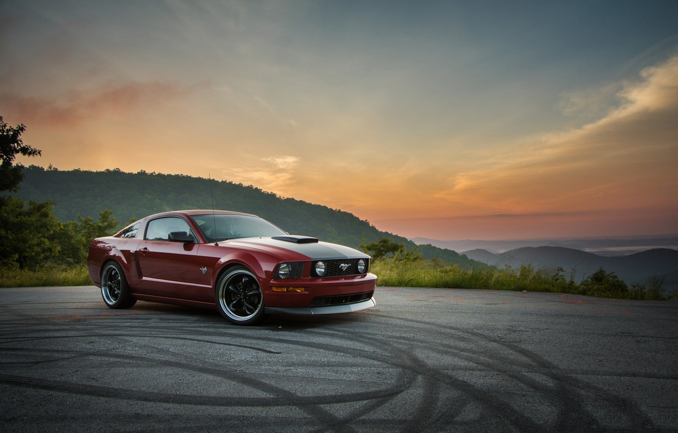 Photo wallpaper Mustang, Ford, Sunset, GT