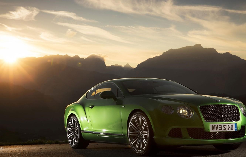 Photo wallpaper Bentley, Continental, Green, Speed, (2013)