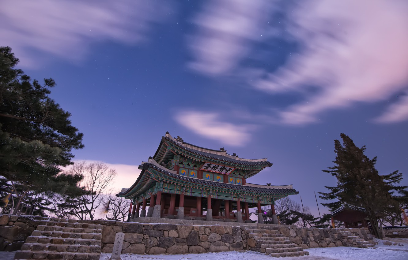 Photo wallpaper winter, the sky, stars, clouds, snow, trees, night, nature, China, pagoda, architecture, lilac