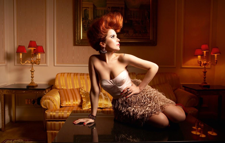 Redhead stocking pussy spread