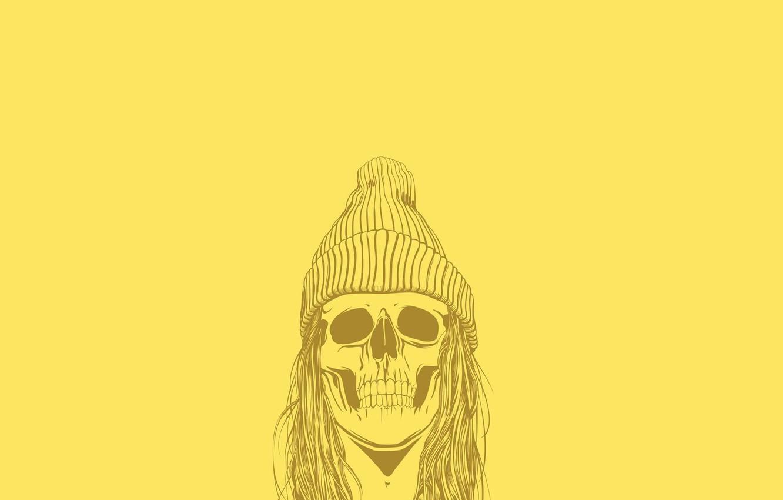 Photo wallpaper Minimalism, Skull, Hat, Hair, Art, Art, Sake, Wallpaper, Yellow, Minimalism