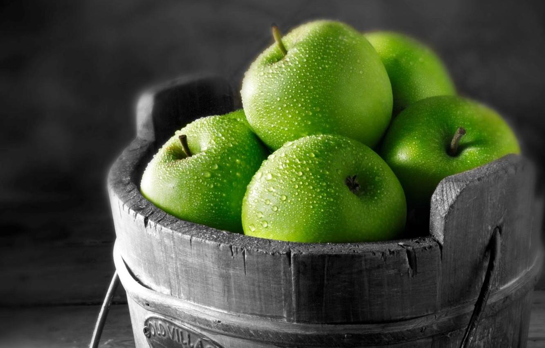 Photo wallpaper drops, macro, photo, apples, green, fruit, picture, vitamins