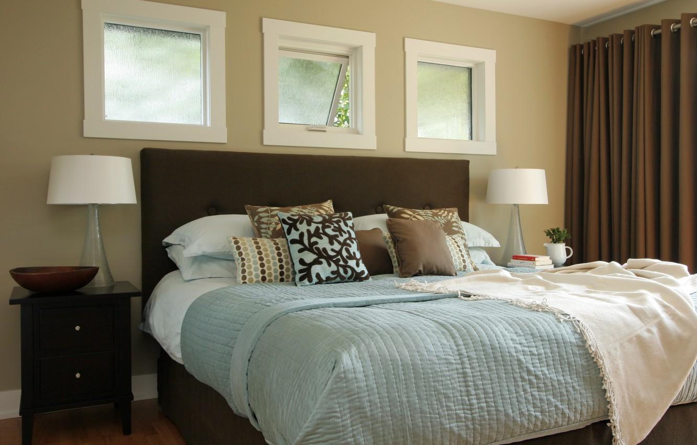 Photo wallpaper lamp, bed, pillow, window