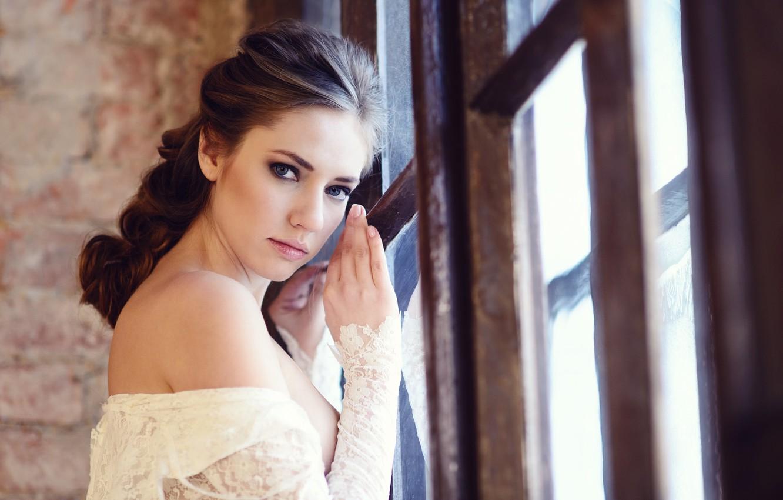 Photo wallpaper chest, look, girl, passion, lips, beautiful, lace, photographer, sexy, half naked, window, face, Galina Tcivina, …