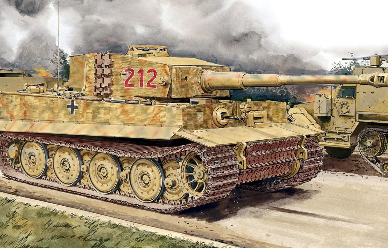 Photo wallpaper figure, Tiger, art, Panzerkampfwagen VI, German heavy tank