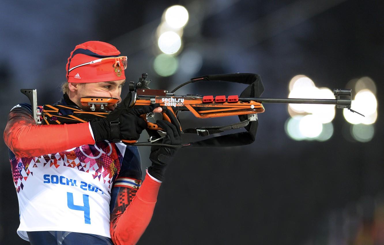 Photo wallpaper Russia, biathlon, Sochi 2014, The XXII Winter Olympic Games, Anton Shipulin