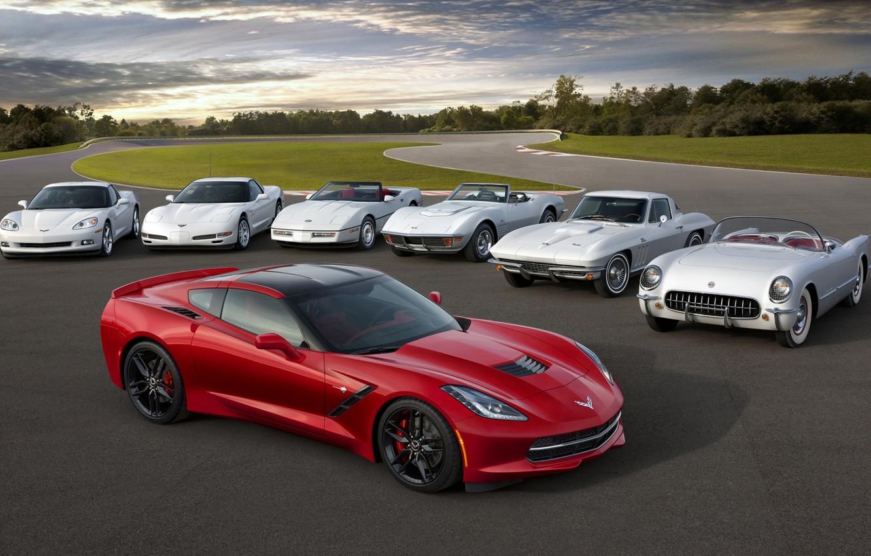 Photo wallpaper Corvette, Chevrolet, Chevrolet, evolution, the front, Stingray, Corvette, Stingray