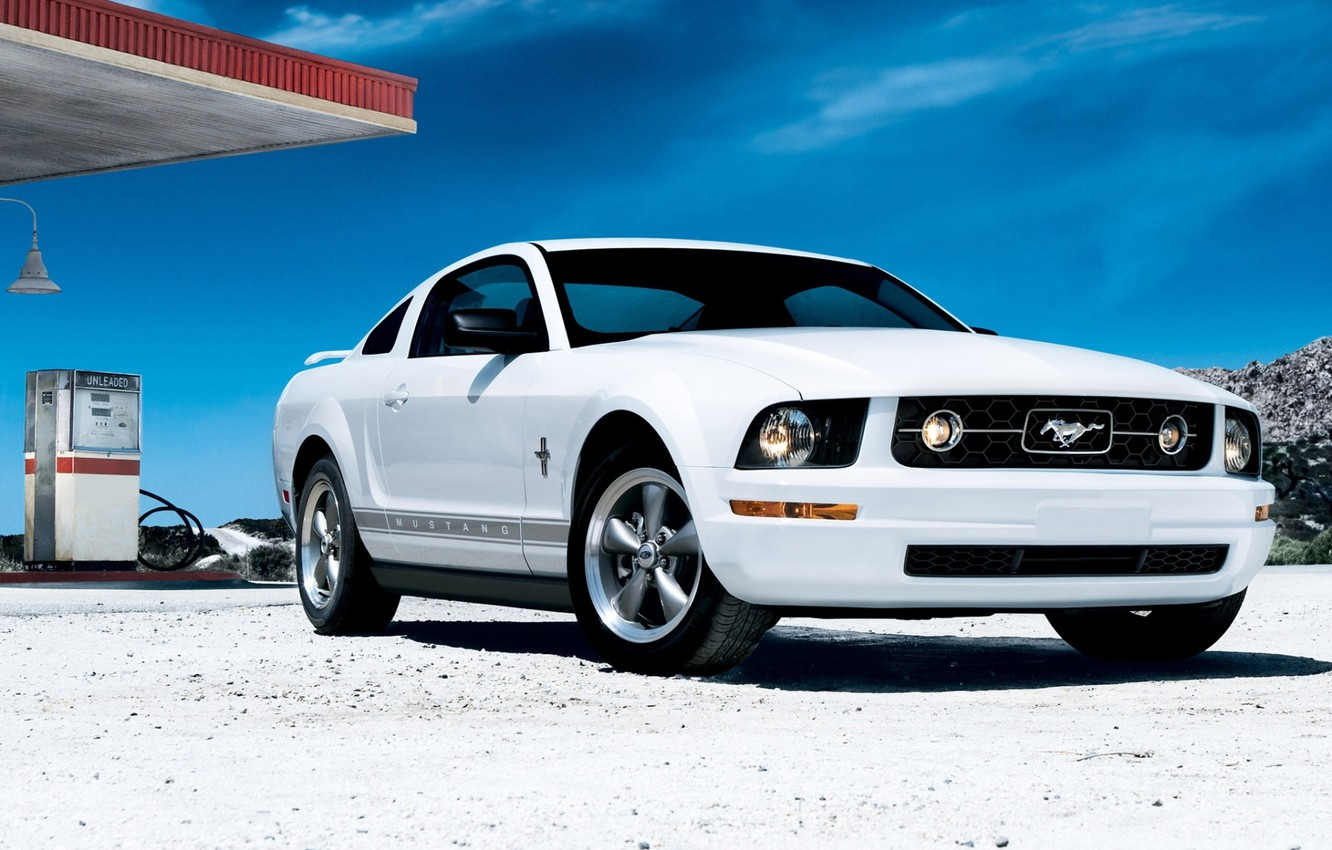 Photo wallpaper white, the sky, coupe, dressing, mustang, Mustang, ford, Ford, coupe, the front