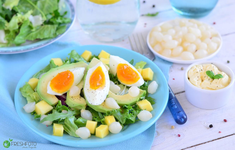 Photo wallpaper egg, bow, salad, avocado