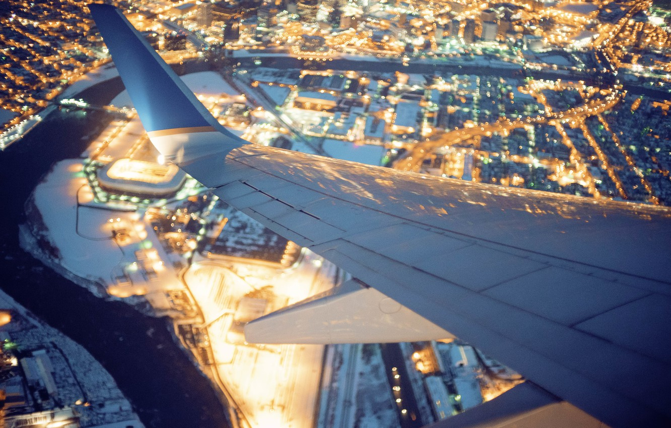 Photo wallpaper the city, lights, the plane, wing