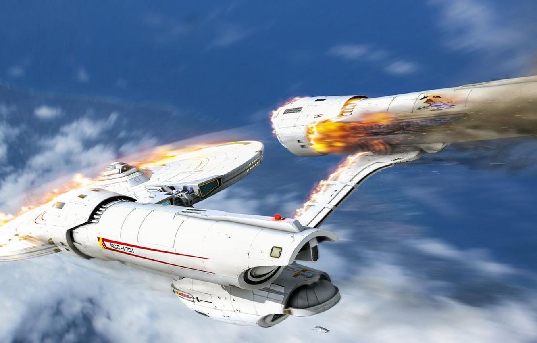 Wallpaper Spaceship Art Crash Uss Starship Roen911 Drop Ncc