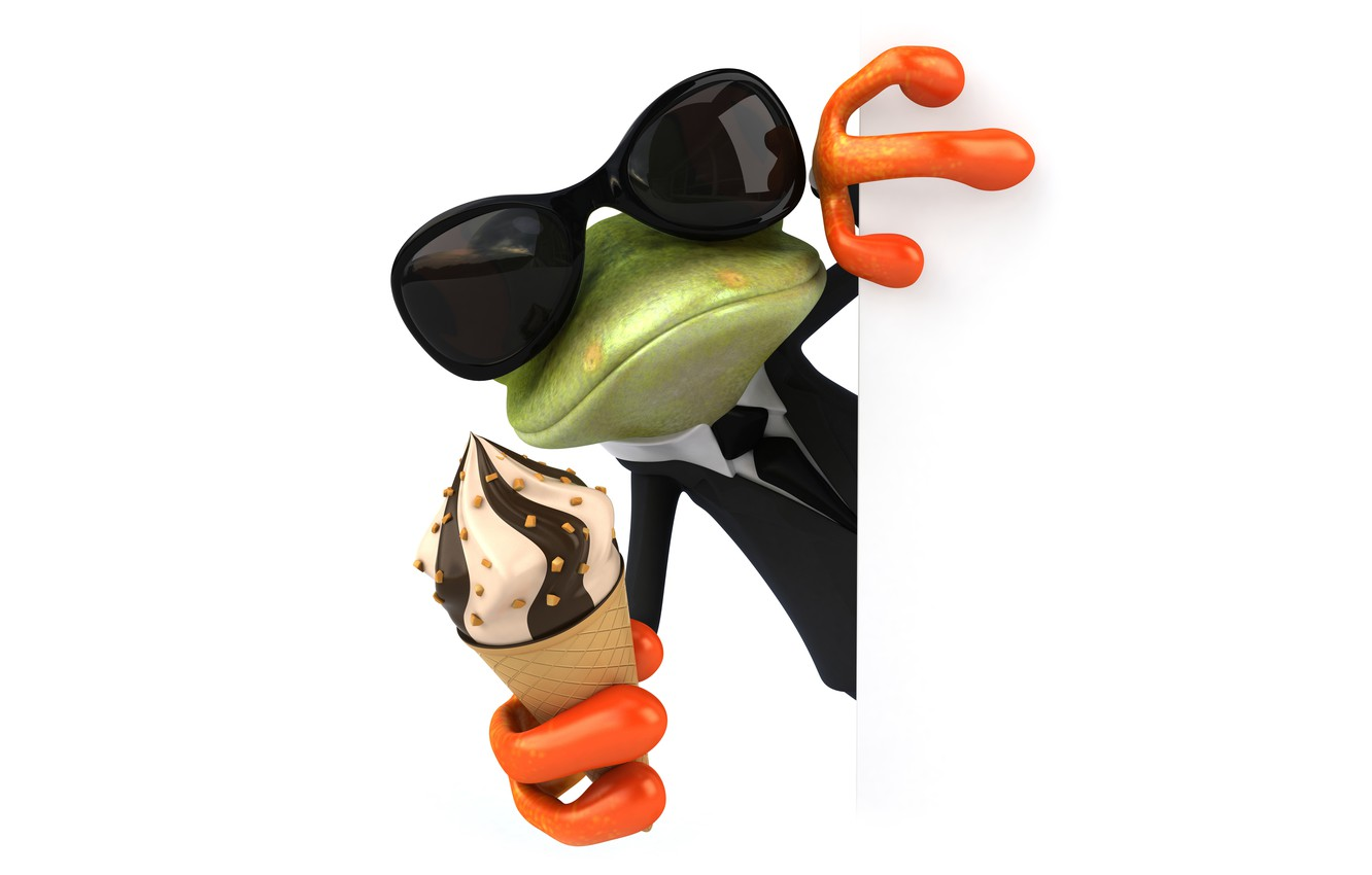 Photo wallpaper character, frog, funny, ice cream