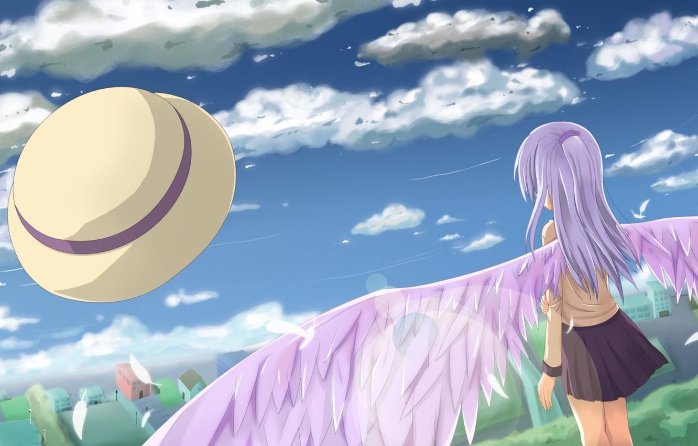 Photo wallpaper Angel, Wings, Anime, Tenshi, Kanade Tachibana, Angel Beats, Angel beats