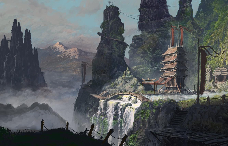 Photo wallpaper mountains, Asia, people, art, temple, bridges