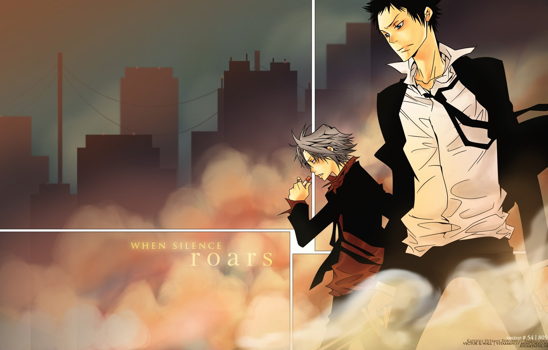 Photo wallpaper the wind, dust, art, art, katekyo Hitman reborn!, teacher mafia reborn!, Yamamoto Takeshi, gokudera Hayato