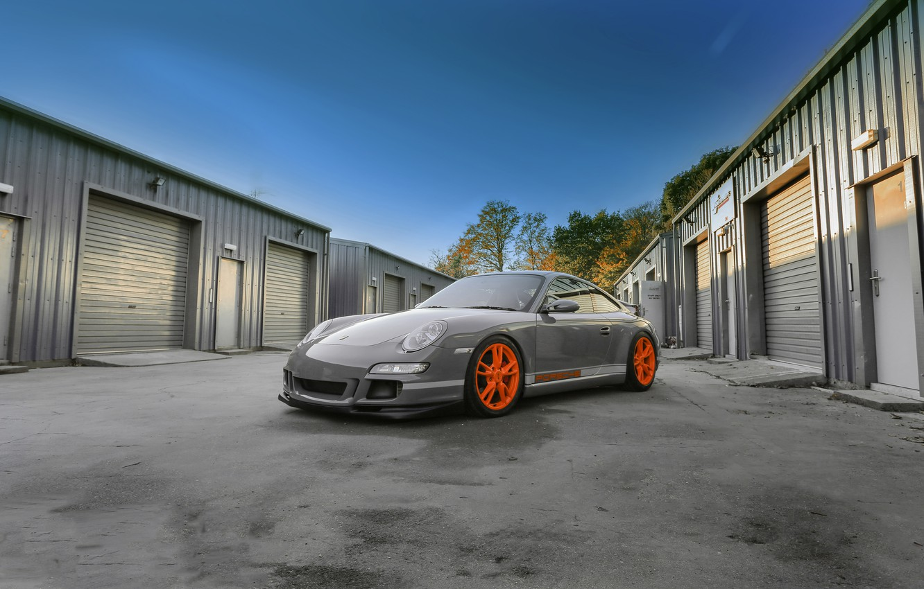 Photo wallpaper Porsche, grey, GT3, wrap, gloss