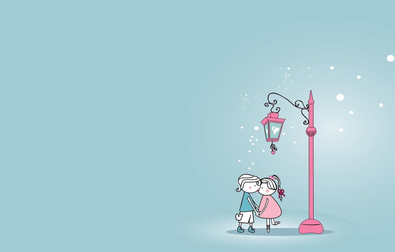 Photo wallpaper love, heart, kiss, pair, lantern