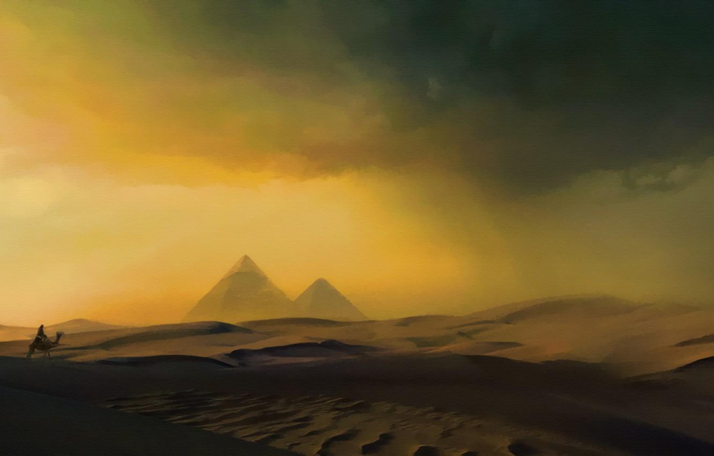 Photo wallpaper art, painting, concept art, ancient, Pyramid