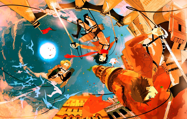 Photo wallpaper flight, the city, warriors, shingeki no kyojin, Attack on Titan, The Invasion Of The Titans