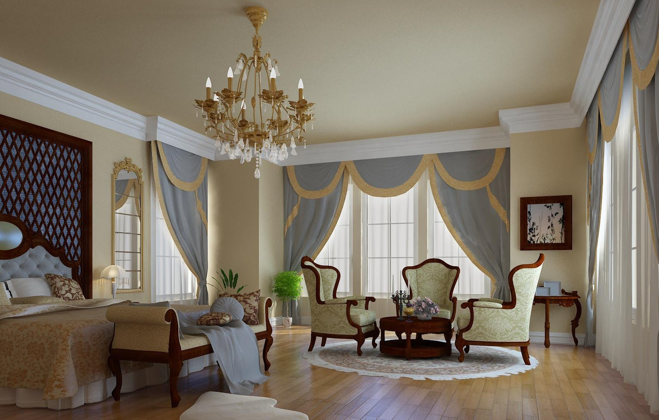 Photo wallpaper design, style, room, furniture, Windows, bed, interior, mirror, chairs, bedroom