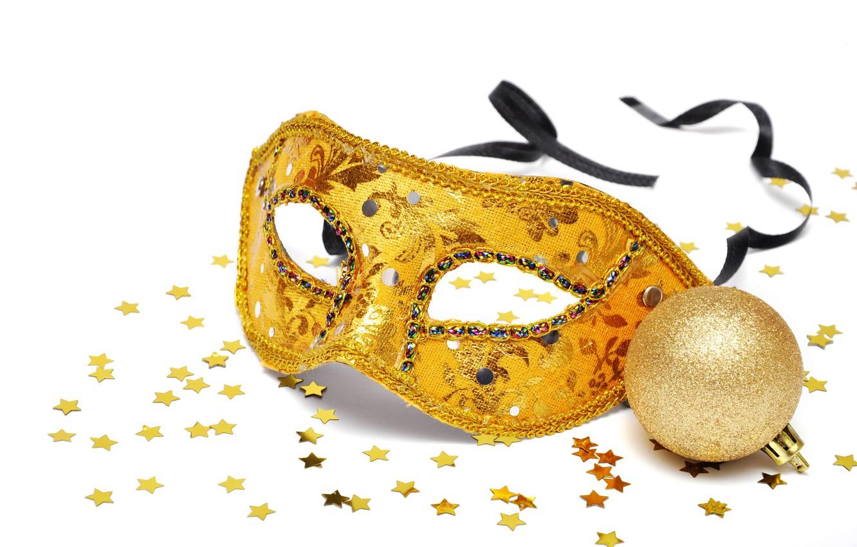 Photo wallpaper new year, ball, mask, stars, gold