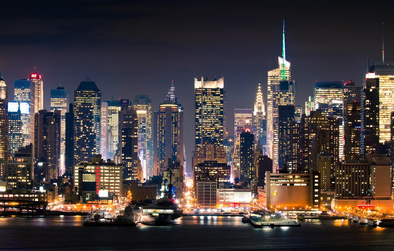 Photo wallpaper night, the city, New York, new york, Manhattan