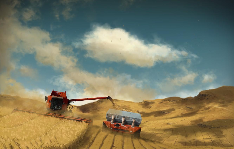 Photo wallpaper field, harvest, harvester