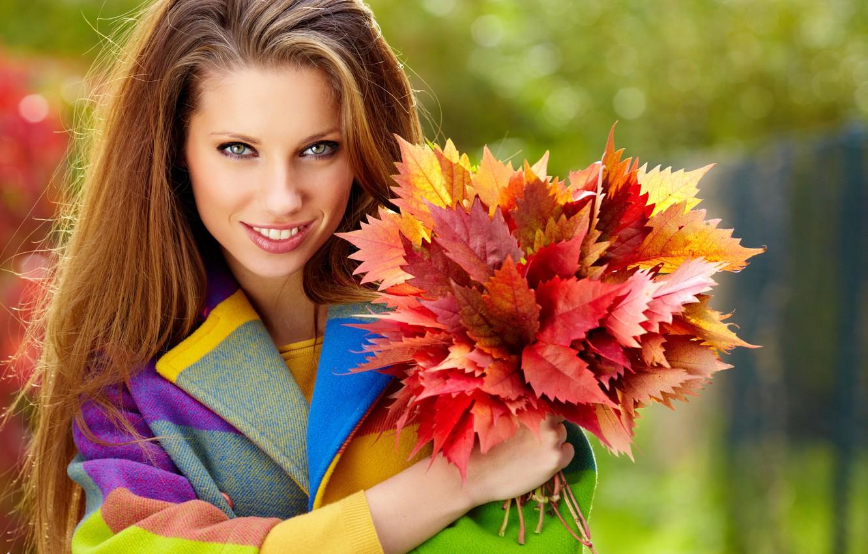 Photo wallpaper autumn, leaves, girl, smile, hair, brown hair, coat, long, green-eyed, Burgundy