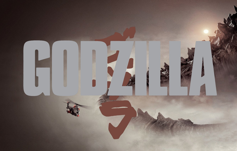 Photo wallpaper Poster, The film, Helicopter, Godzilla, Tail, Movie, 2014, Godzilla