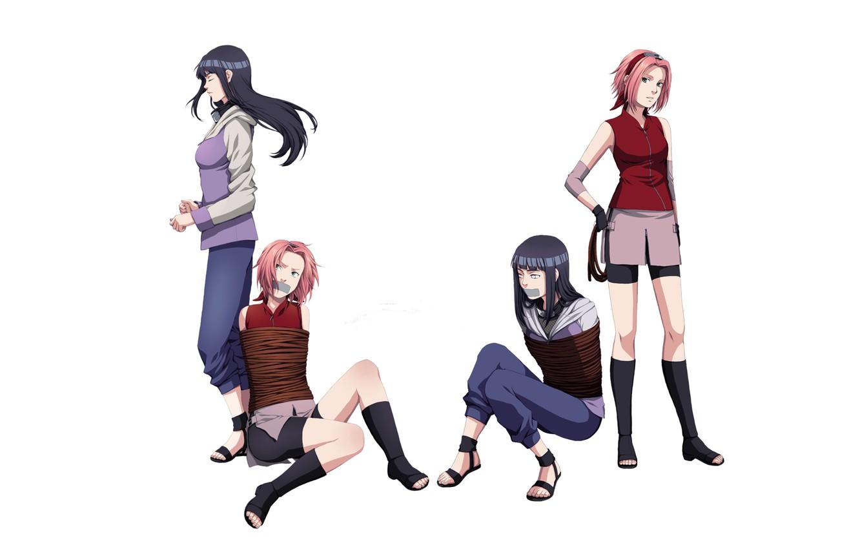 Photo wallpaper girls, rope, naruto, ninja, Naruto, rivalry, Sakura Haruno, shackles, Hinata