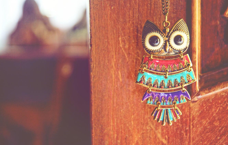 Photo wallpaper owl, bird, suspension