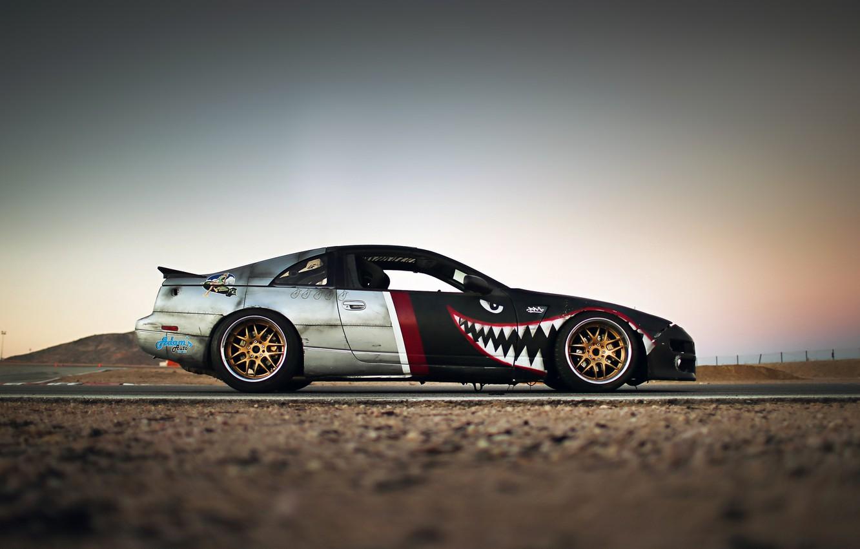 Photo wallpaper Nissan, Drift, Style, Tuning, Retro, Rims, Sportcar, Track, Exhaust, 300ZX, Z32