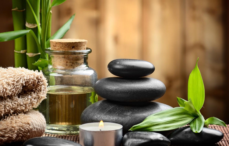 Photo wallpaper stones, Spa, stones, bamboo, candles, spa, zen