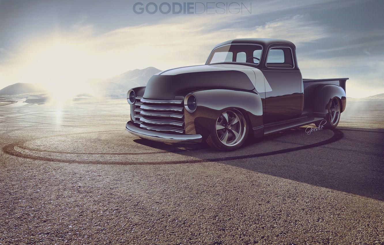 Photo wallpaper Auto, Chevrolet, Desert, Truck, Chevrolet, 1954, Pickup, 3100, Goodie Design