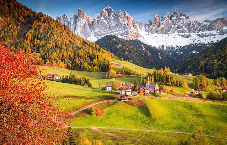 Photo wallpaper autumn, forest, tree, Alps, Italy, Church, village, the village