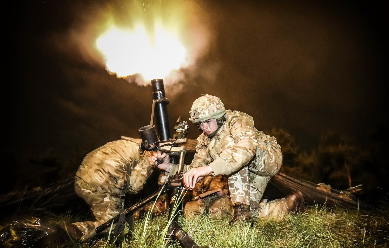 Photo wallpaper weapons, shot, soldiers, mortar