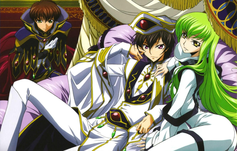 Photo wallpaper mantle, green hair, the throne, code geass, c.c., lelouch lamperouge, suzaku kururugi, Lord, by takahiro …