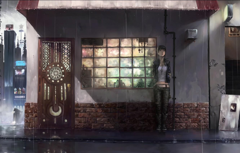 Photo wallpaper city, the city, rain, landscape, yuzu nooto