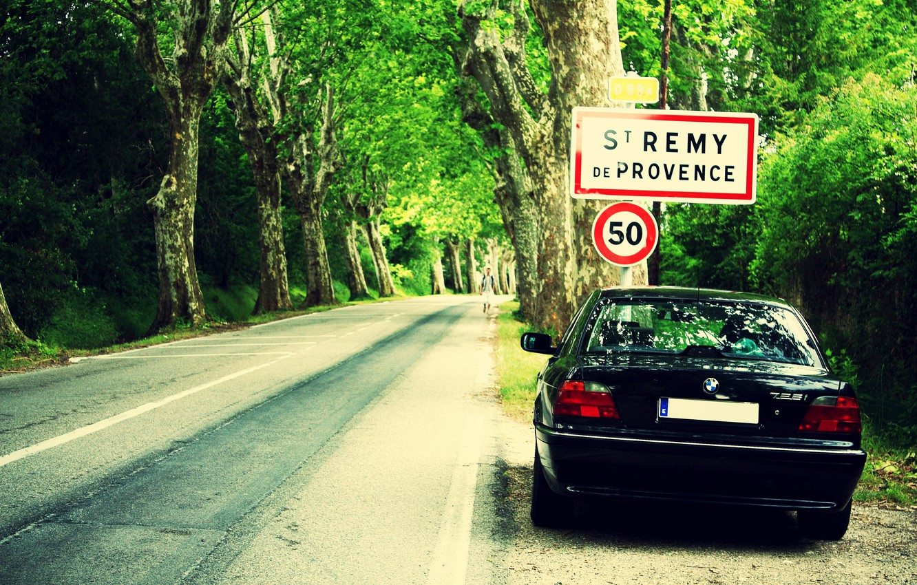 Photo wallpaper road, forest, lights, bmw, Boomer, seven, e38, bumer