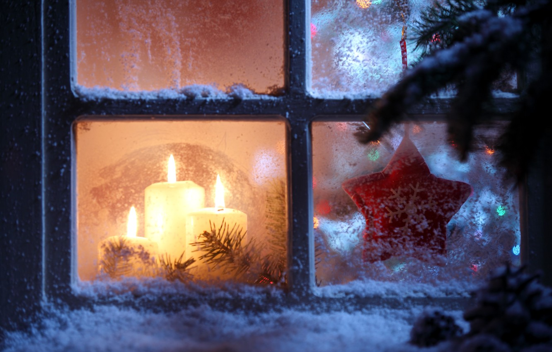 Photo wallpaper stars, snow, snowflakes, Windows, new year, candles, window, star, new year, snow, window, Merry Christmas, …