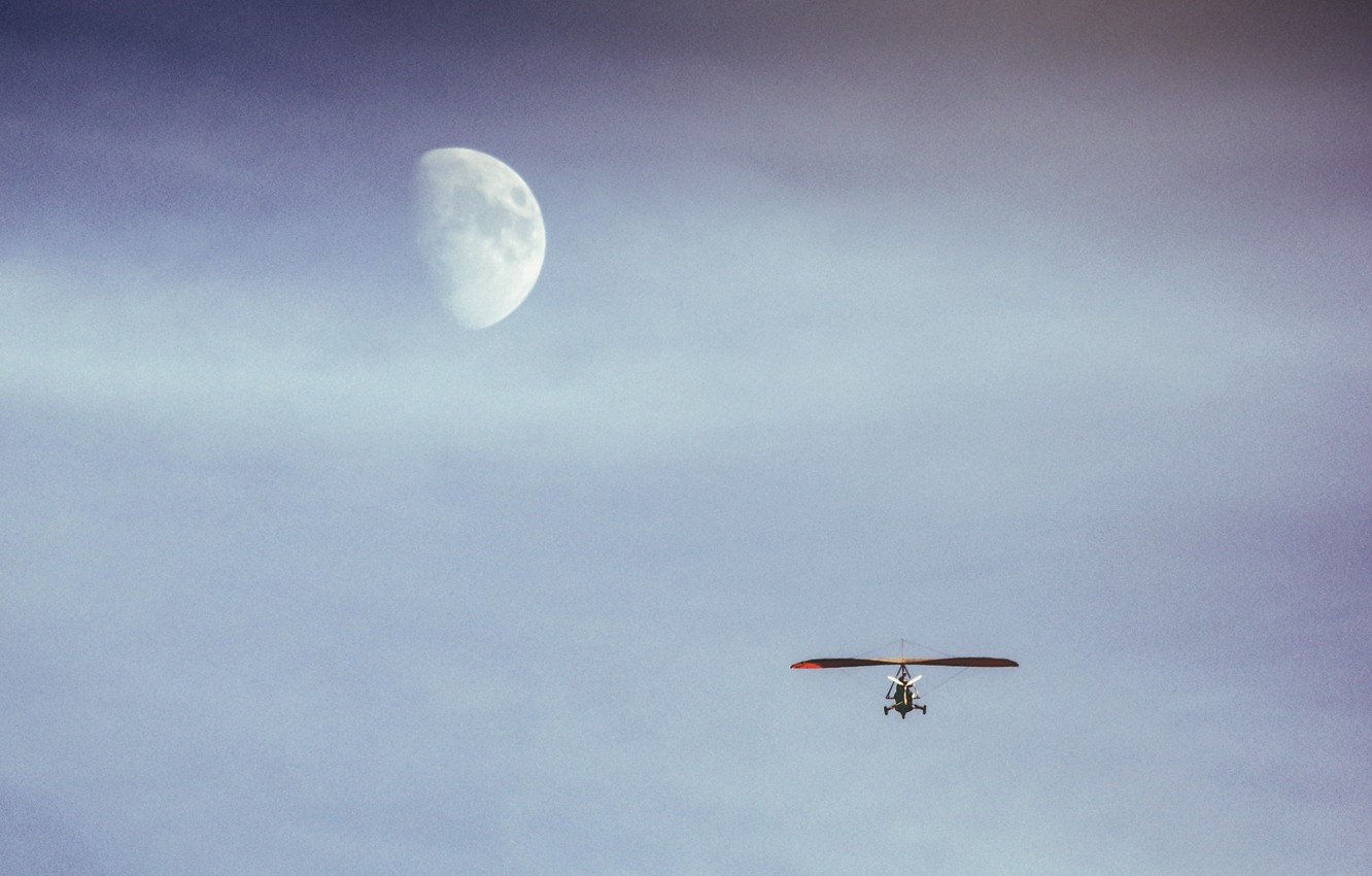 Photo wallpaper the sky, flight, the moon, tricycle, hang gliding, to the moon
